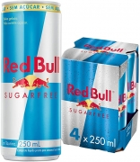 Energético sem Açúcar Red Bull Energy Drink Pack com 4 Latas de 250ml